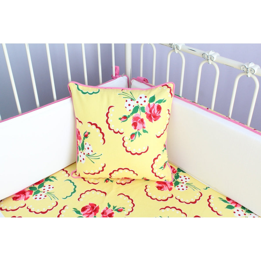 Emma's Yellow and Pink Floral Throw Pillow | Bold Bedding