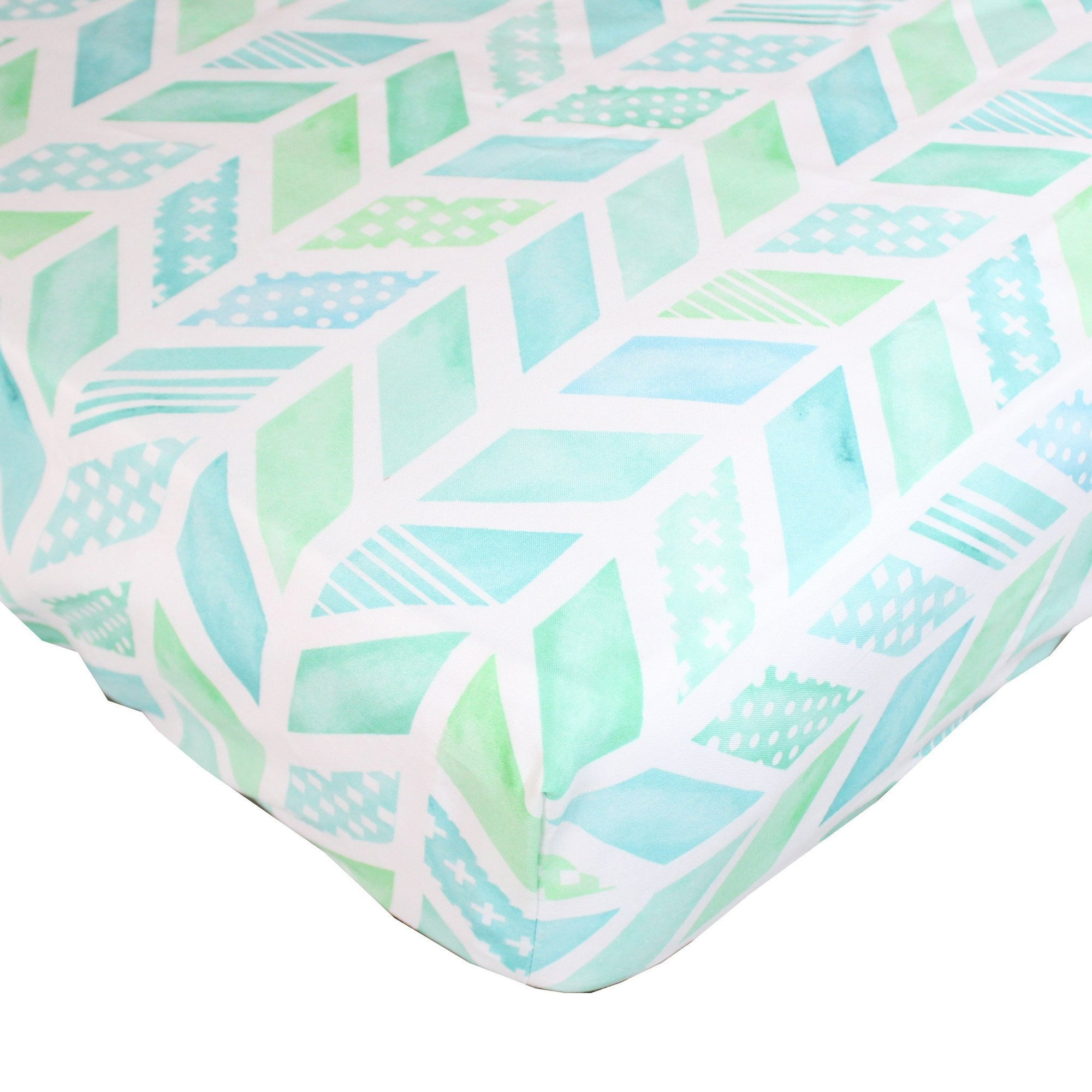 Fitted Crib Sheet | Aqua and Coral Watercolor Herringbone Baby Bedding-Crib Sheets-Jack and Jill Boutique
