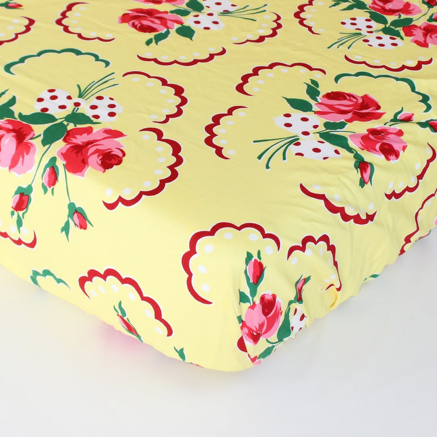 Fitted Crib Sheet: Emma's Retro Floral in Yellow, Pink and Green-Crib Sheets-Default-Jack and Jill Boutique