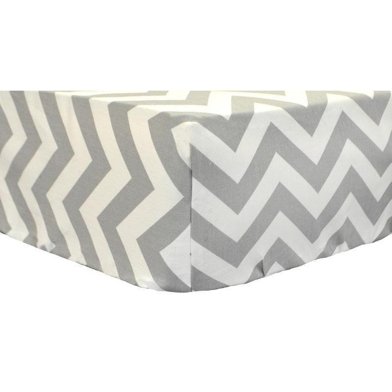 Fitted Crib Sheet | Gray Chevron Zig Zag