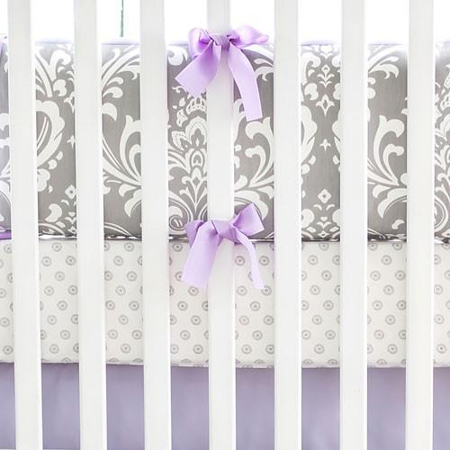 Fitted Crib Sheet | Lavender & Gray Damask Wisteria-Crib Sheets-Jack and Jill Boutique