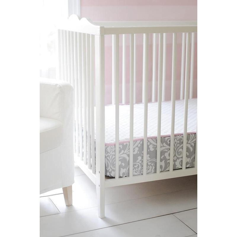 Fitted Crib Sheet with Piping | Stella Gray Damask