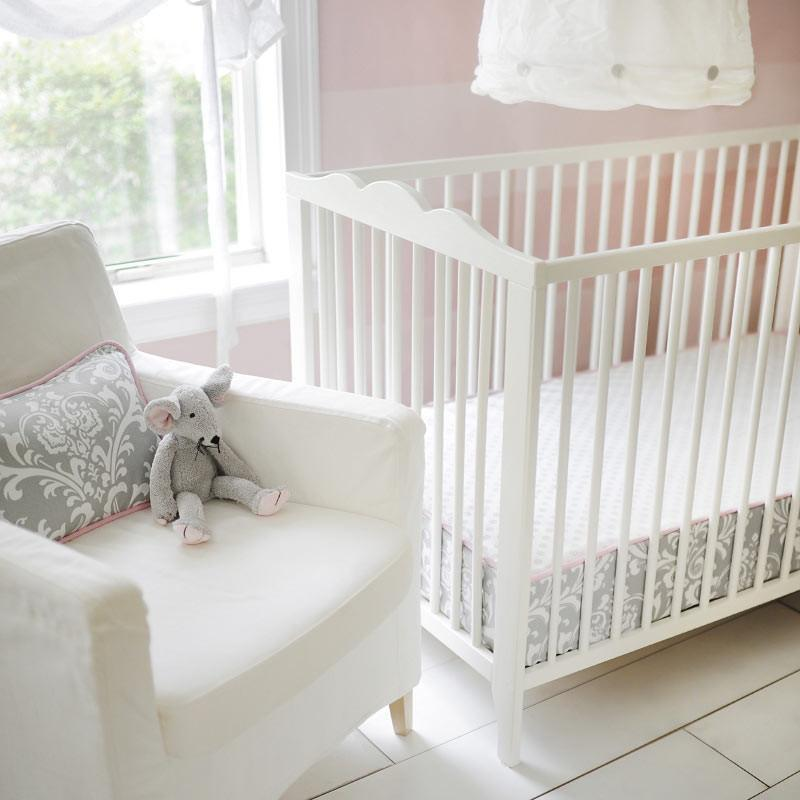 Fitted Crib Sheet with Piping | Stella Gray Damask-Crib Sheets-Default-Jack and Jill Boutique
