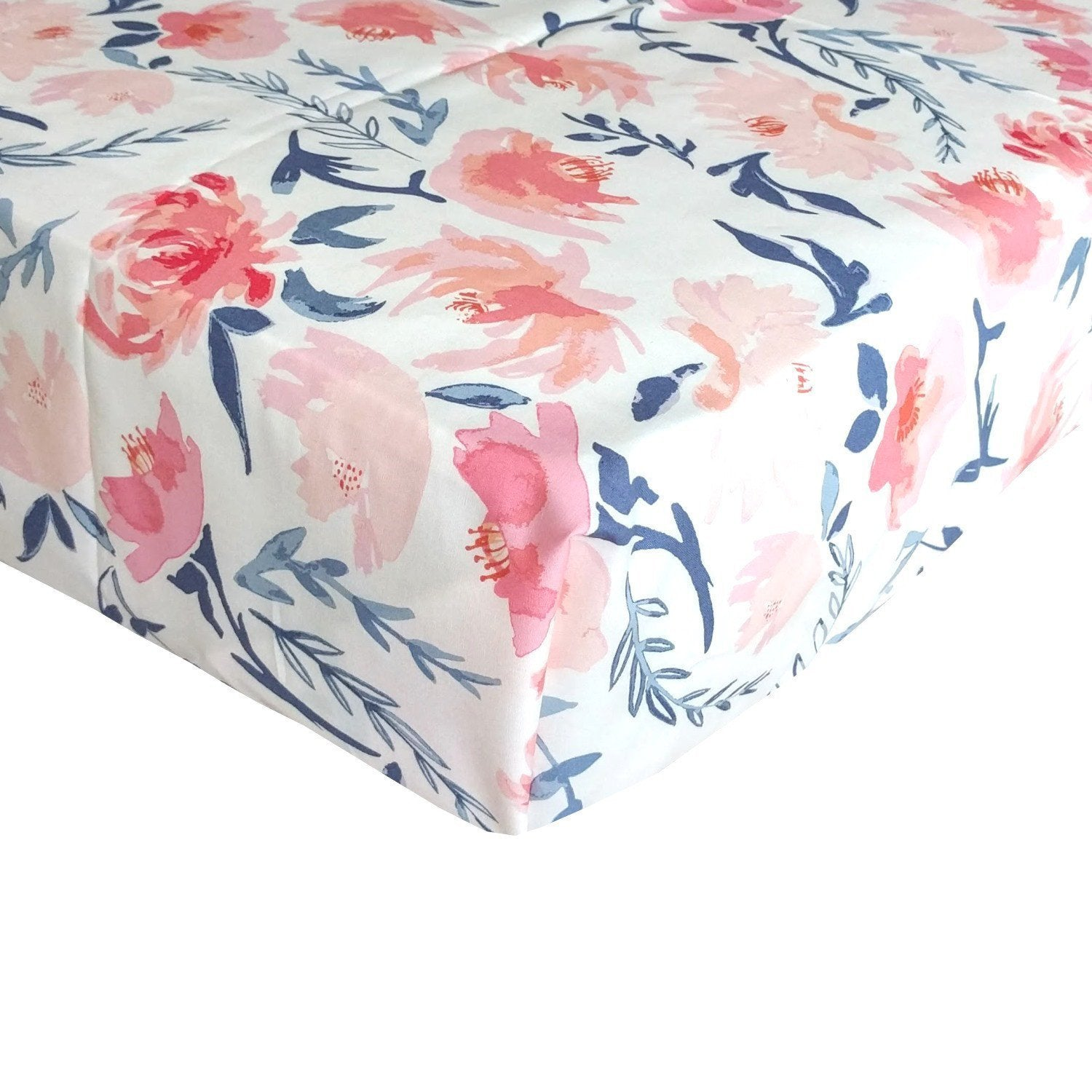 Fitted Crib Sheets | Blush, Peach And Navy Floral Baby Bedding Crib Sheets