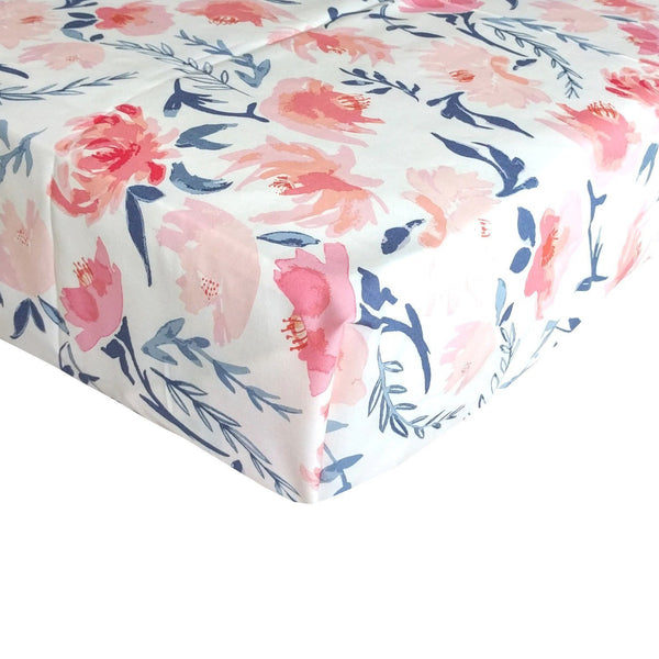 Fitted Crib Sheets Blush Peach And Navy Floral Baby