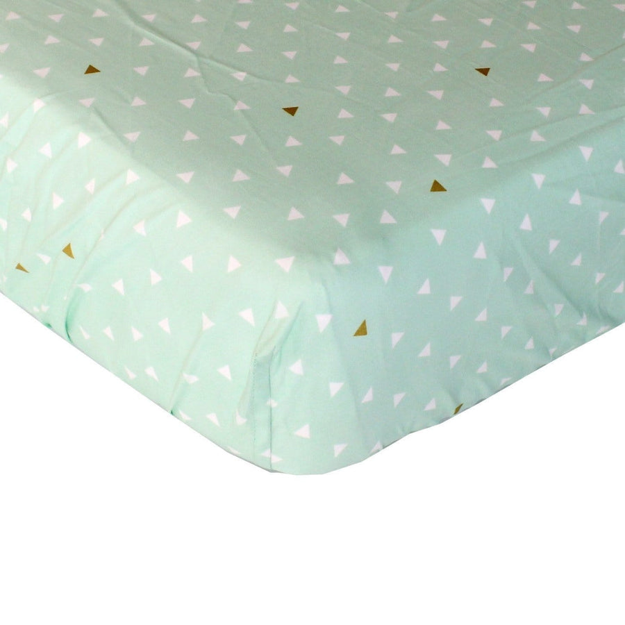 Fitted Crib Sheets | Gold and Mint Aztec Triangles-Crib Sheets-Default-Jack and Jill Boutique