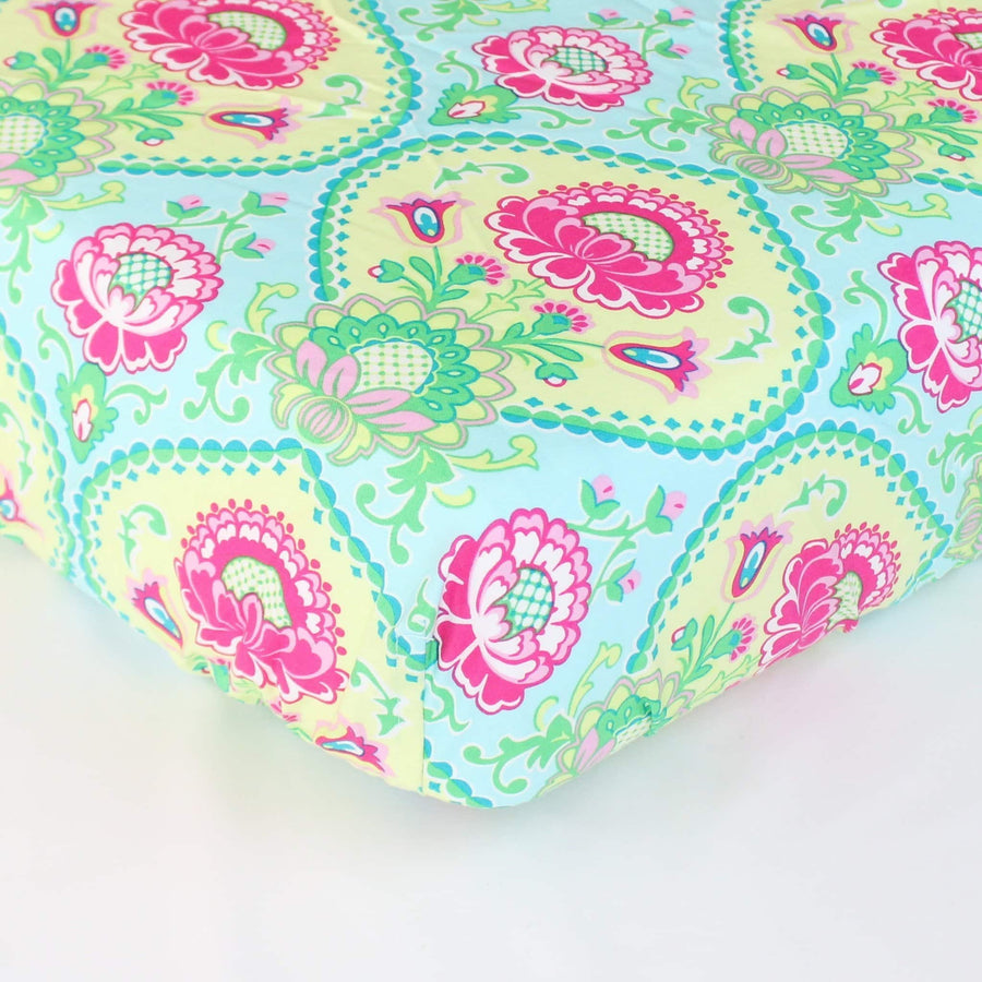 Fitted Crib Sheets | Lavinia Aqua Floral-Crib Sheets-Default-Jack and Jill Boutique