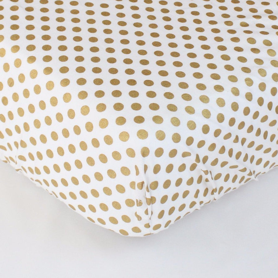 Fitted Crib Sheets | Metallic Medium Gold Dots