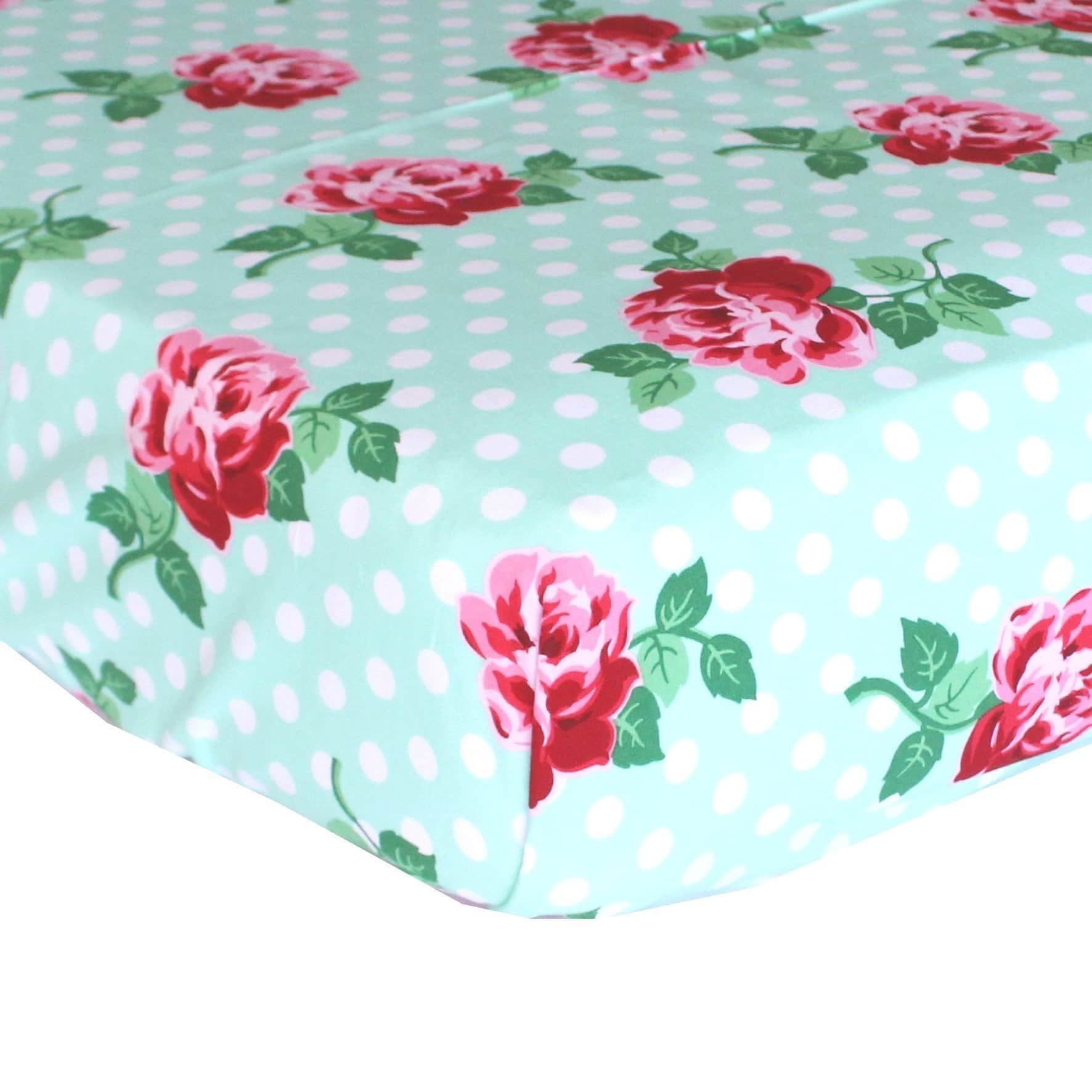 Fitted Crib Sheets | Retro Florals Mint and Rose-Crib Sheets-Default-Jack and Jill Boutique
