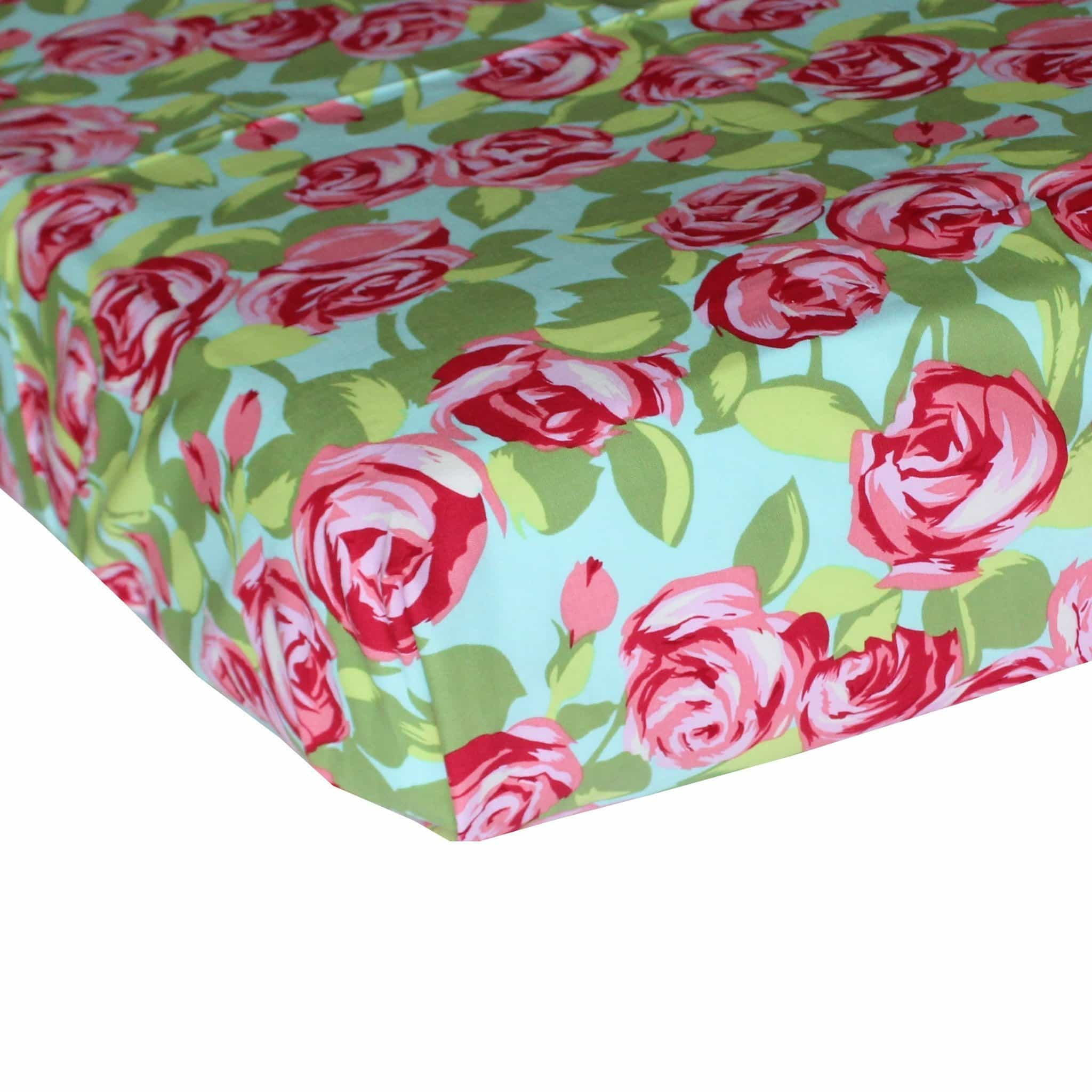 Fitted Crib Sheets | Retro Rose Pink, Aqua & Green-Crib Sheets-Bold Bedding-Jack and Jill Boutique