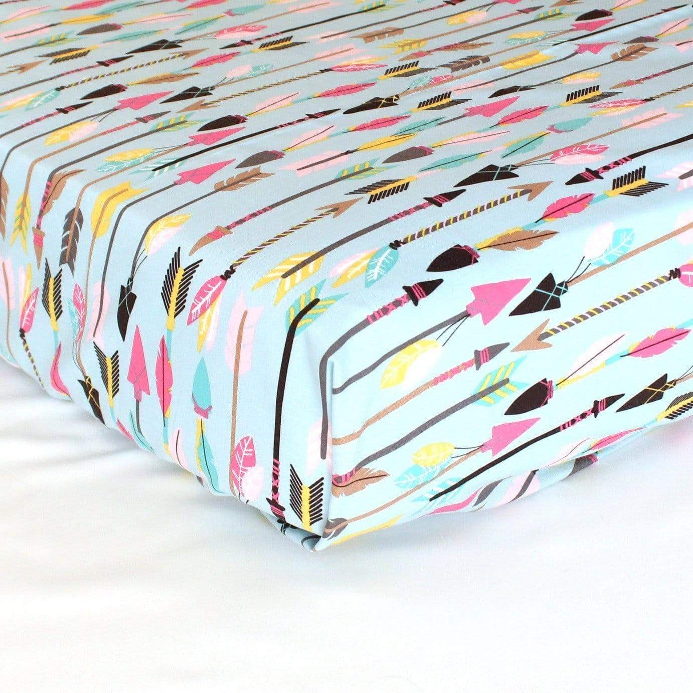 Fitted Crib Sheets | Tribal Quills and Arrows in Pink & Aqua-Crib Sheets-Default-Jack and Jill Boutique