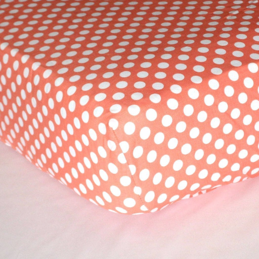 Fitted Crib Sheets | White Polka Dots on Coral-Crib Sheets-Default-Jack and Jill Boutique