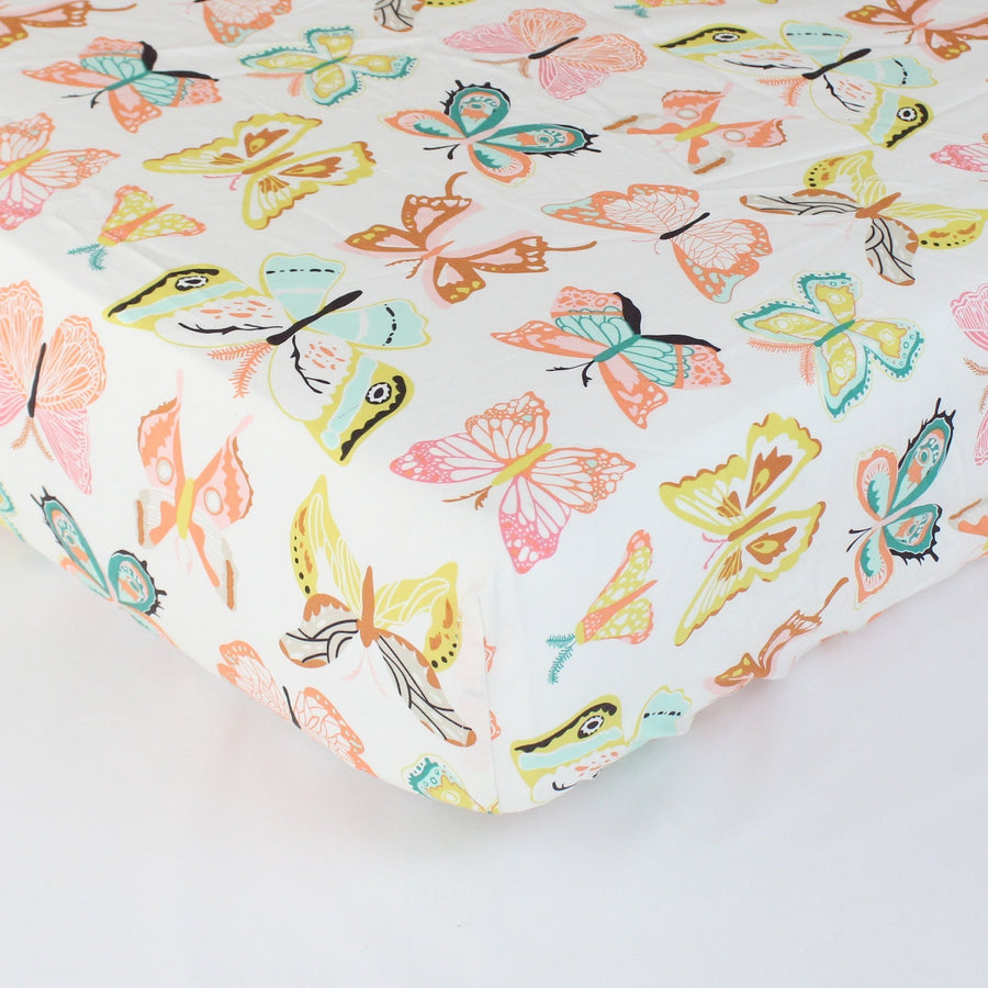 Fitted Crib Sheets | Winged Butterflies Bright Pastel-Crib Sheets-Default-Jack and Jill Boutique