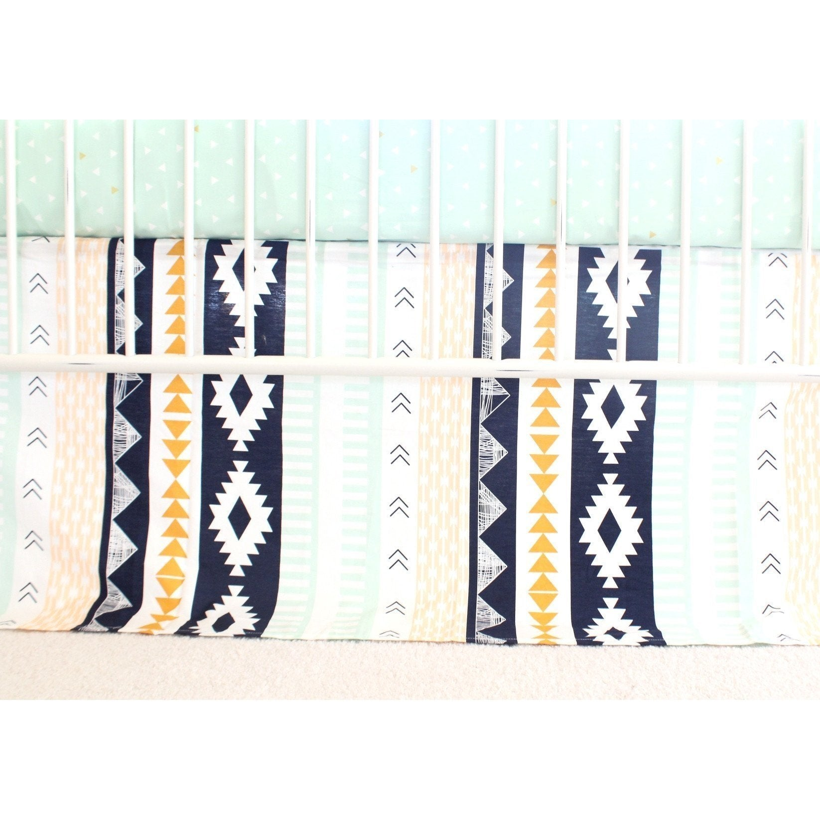 Flat Panel Tailored Crib Skirt | Navy and Mint Aztec Nursery-Crib Skirt-Bold Bedding-Jack and Jill Boutique