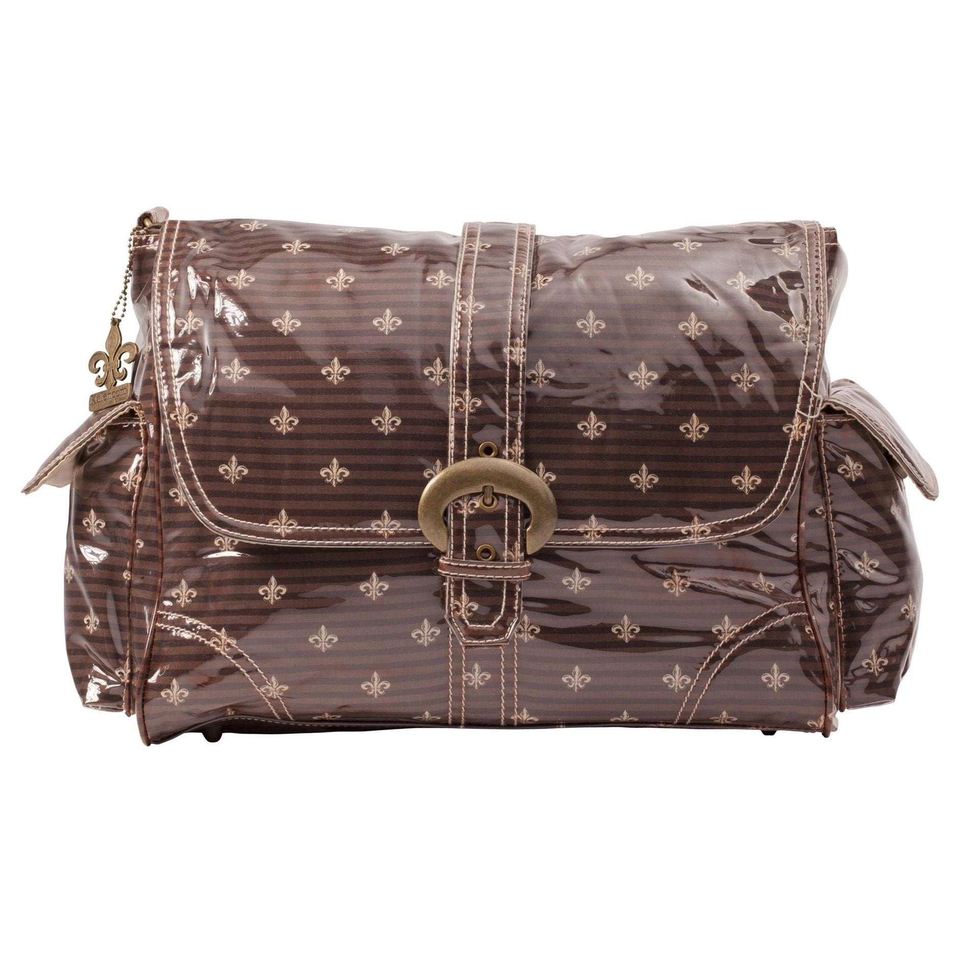 Fleur De Lis - Chocolate-Cream Laminated Buckle Diaper Bag | Style 2960 - Kalencom-Diaper Bags-Default-Jack and Jill Boutique