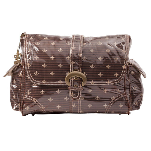 Fleur De Lis - Chocolate-Cream Laminated Buckle Diaper Bag | Style 2960 - Kalencom-Diaper Bags-Jack and Jill Boutique