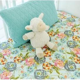 Floral Crib Sheet | Aqua Garden Floral-Crib Sheets-New Arrivals-Jack and Jill Boutique