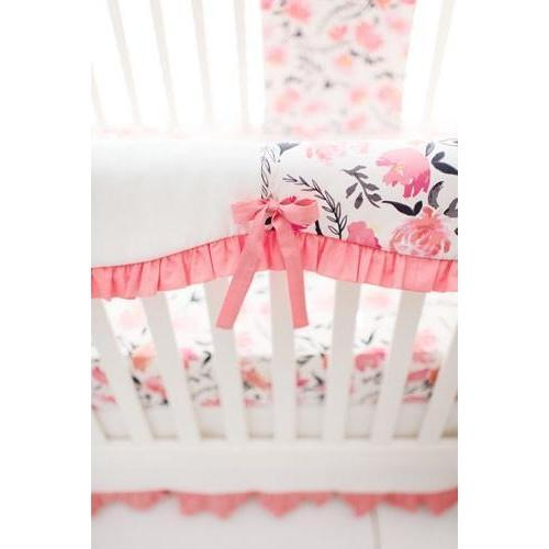 Floral Rosewater in Coral Baby Bedding Set-Crib Bedding Set-Default-Jack and Jill Boutique