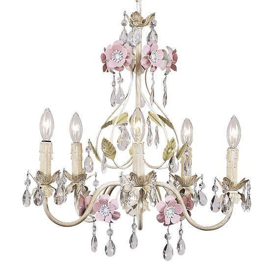 Flower Garden Ivory/Sage/Pink Five-Light Mini Chandelier-Chandeliers-Default-Jack and Jill Boutique