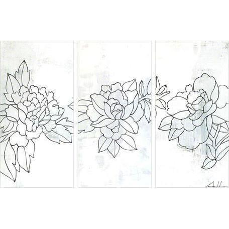 Flower Triptych #31 | Canvas Wall Art-Canvas Wall Art-Jack and Jill Boutique