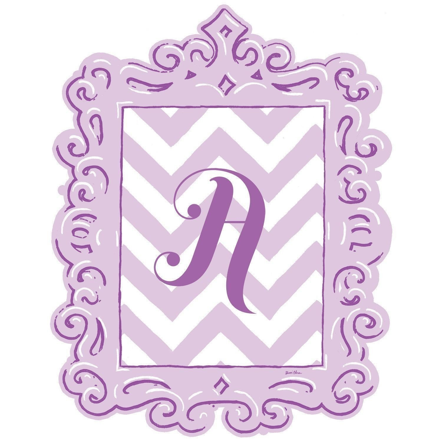 Framed Chevron Monogram Wall Decal in Lavender-Decals-Default-Jack and Jill Boutique