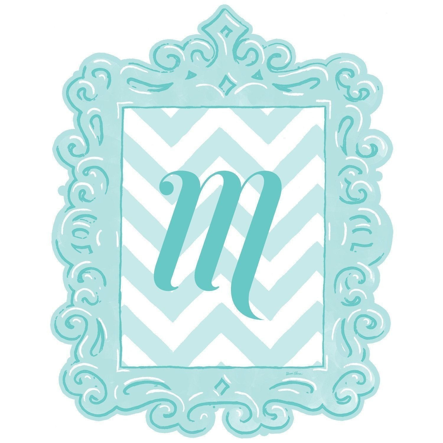 Framed Chevron Monogram Wall Decal in Turquoise-Decals-Default-Jack and Jill Boutique