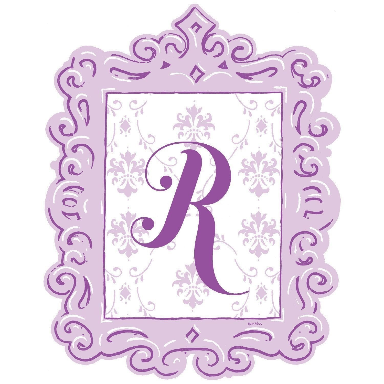 Framed Damask Monogram Wall Decal in Lavender-Decals-Default-Jack and Jill Boutique
