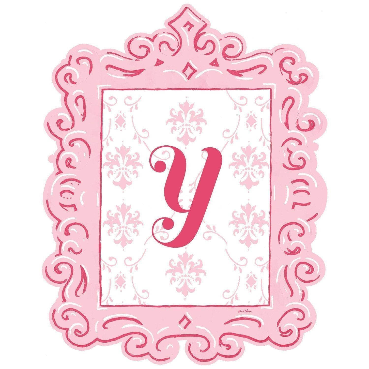 Framed Damask Monogram Wall Decal in Pink-Decals-Default-Jack and Jill Boutique