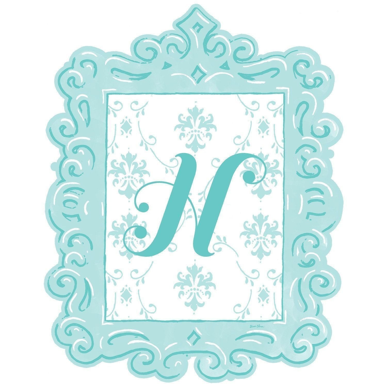 Framed Damask Monogram Wall Decal in Turquoise-Decals-Default-Jack and Jill Boutique