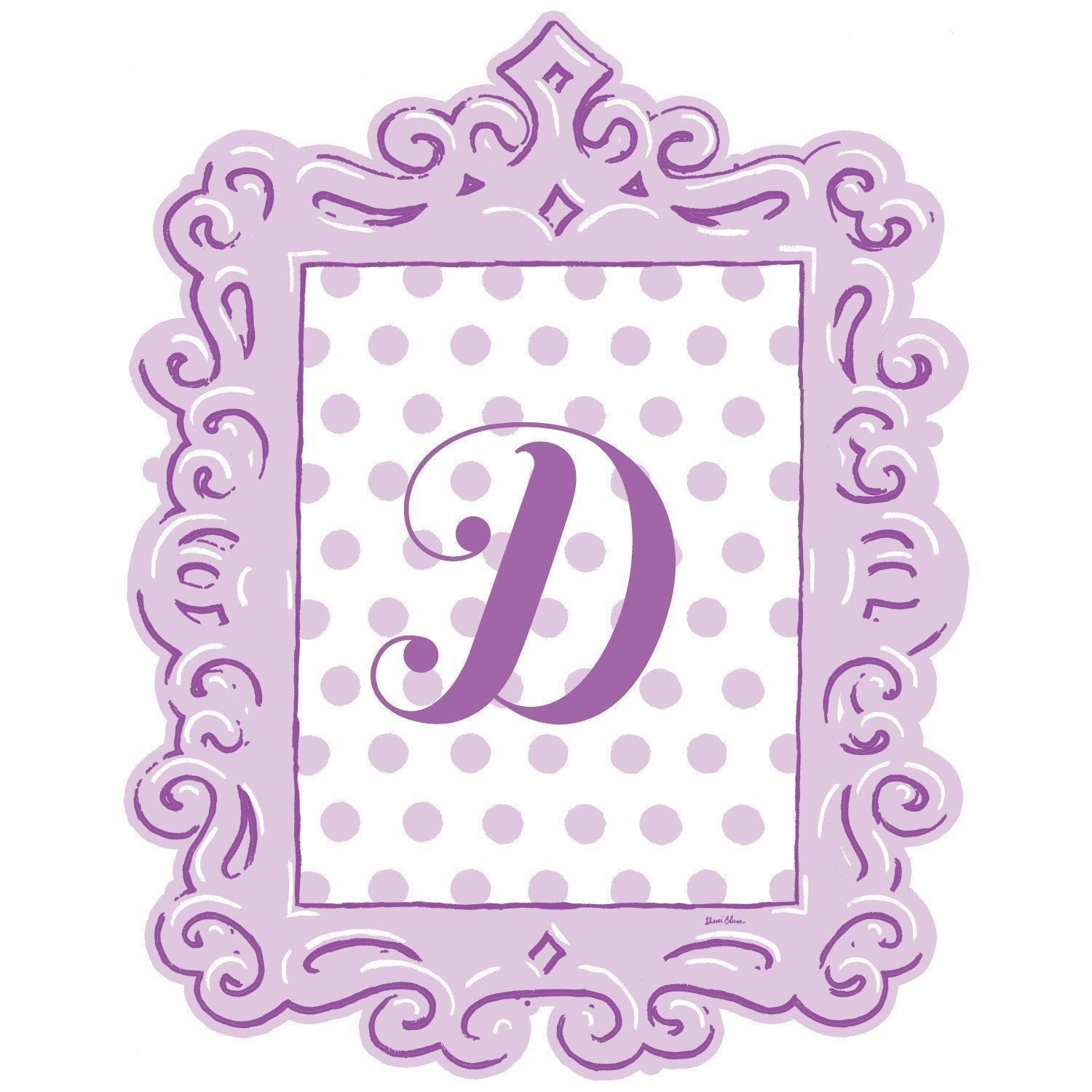 Framed Dotted Monogram Wall Decal in Lavender-Decals-Default-Jack and Jill Boutique