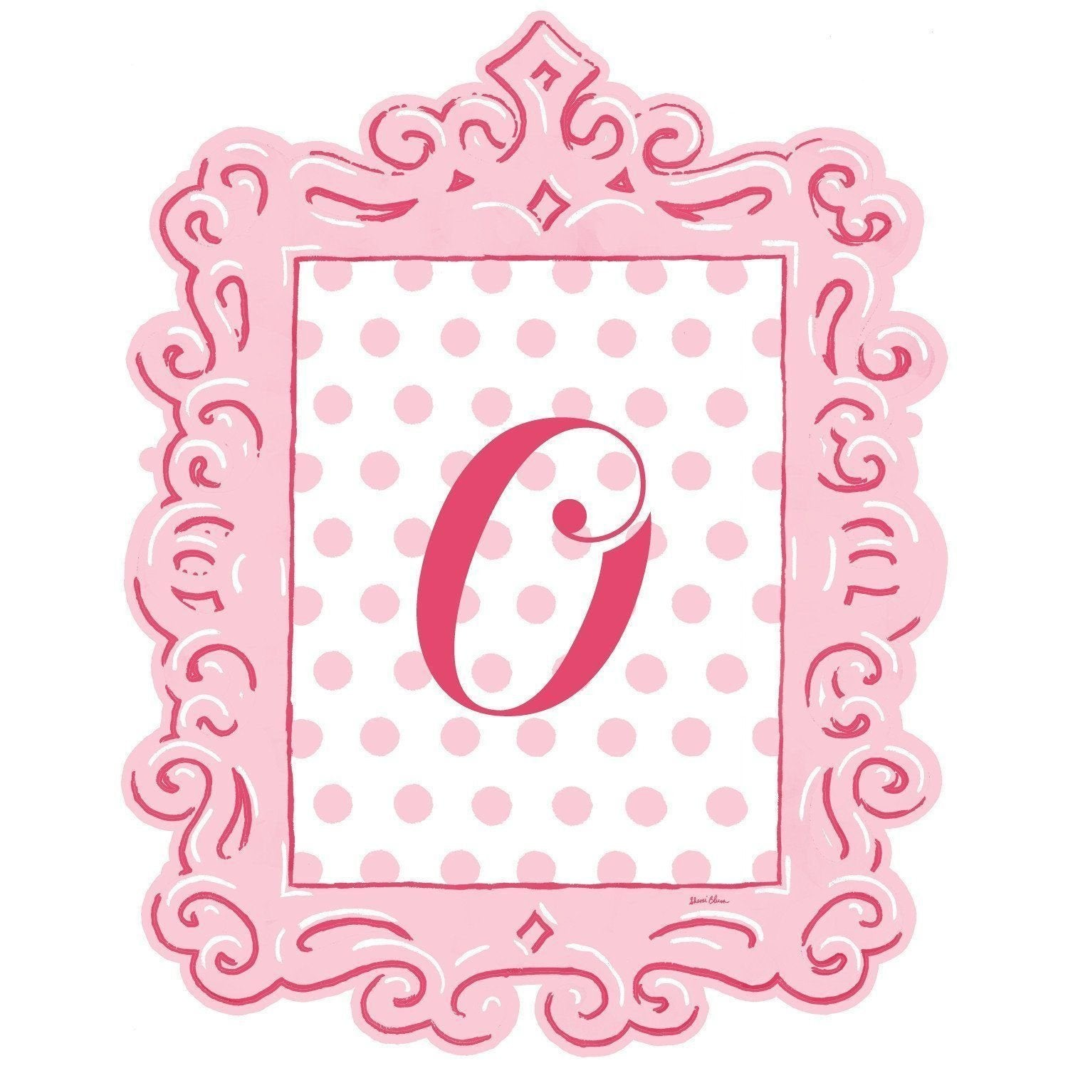 Framed Dotted Monogram Wall Decal in Pink-Decals-Default-Jack and Jill Boutique