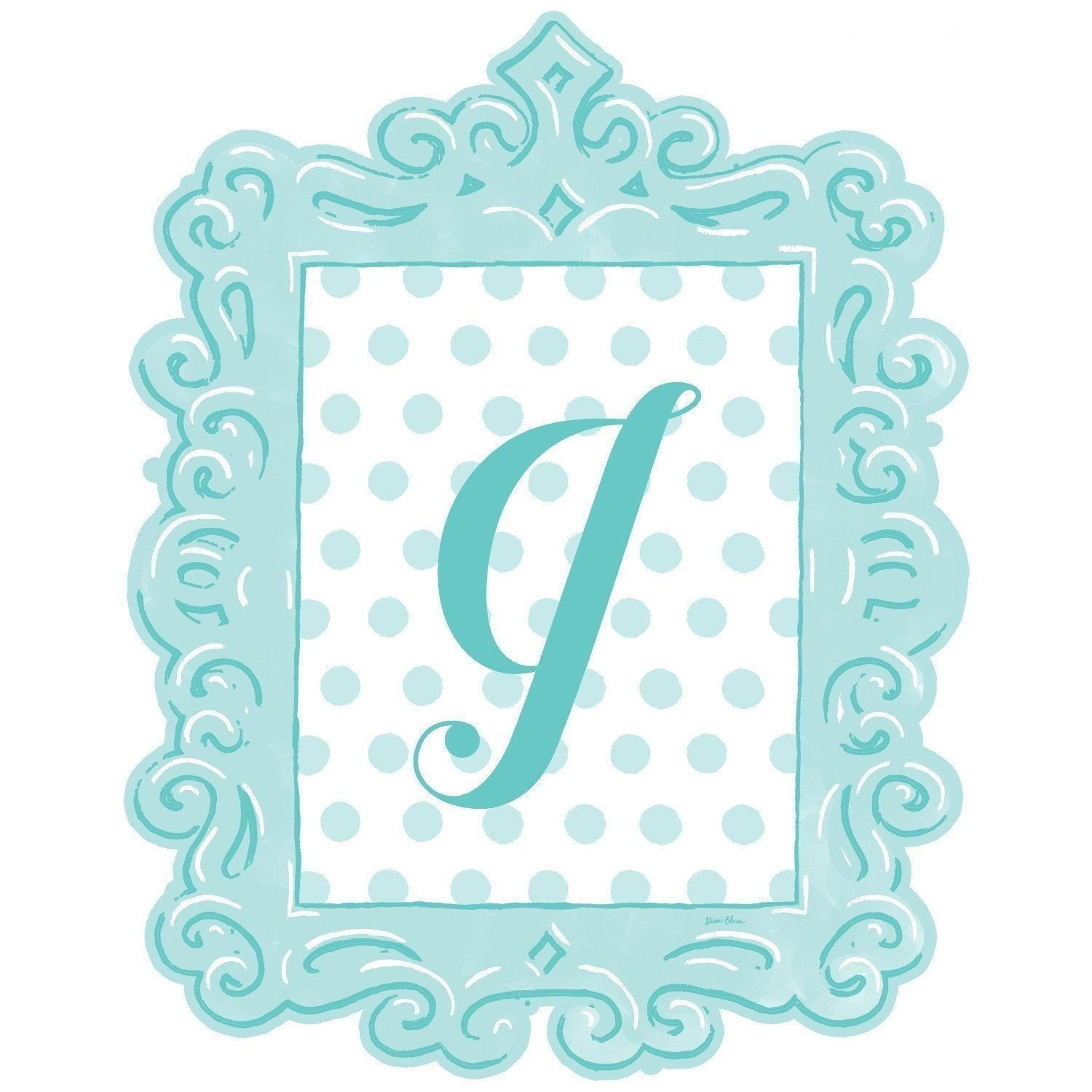 Framed Dotted Monogram Wall Decal in Turquoise-Decals-Default-Jack and Jill Boutique