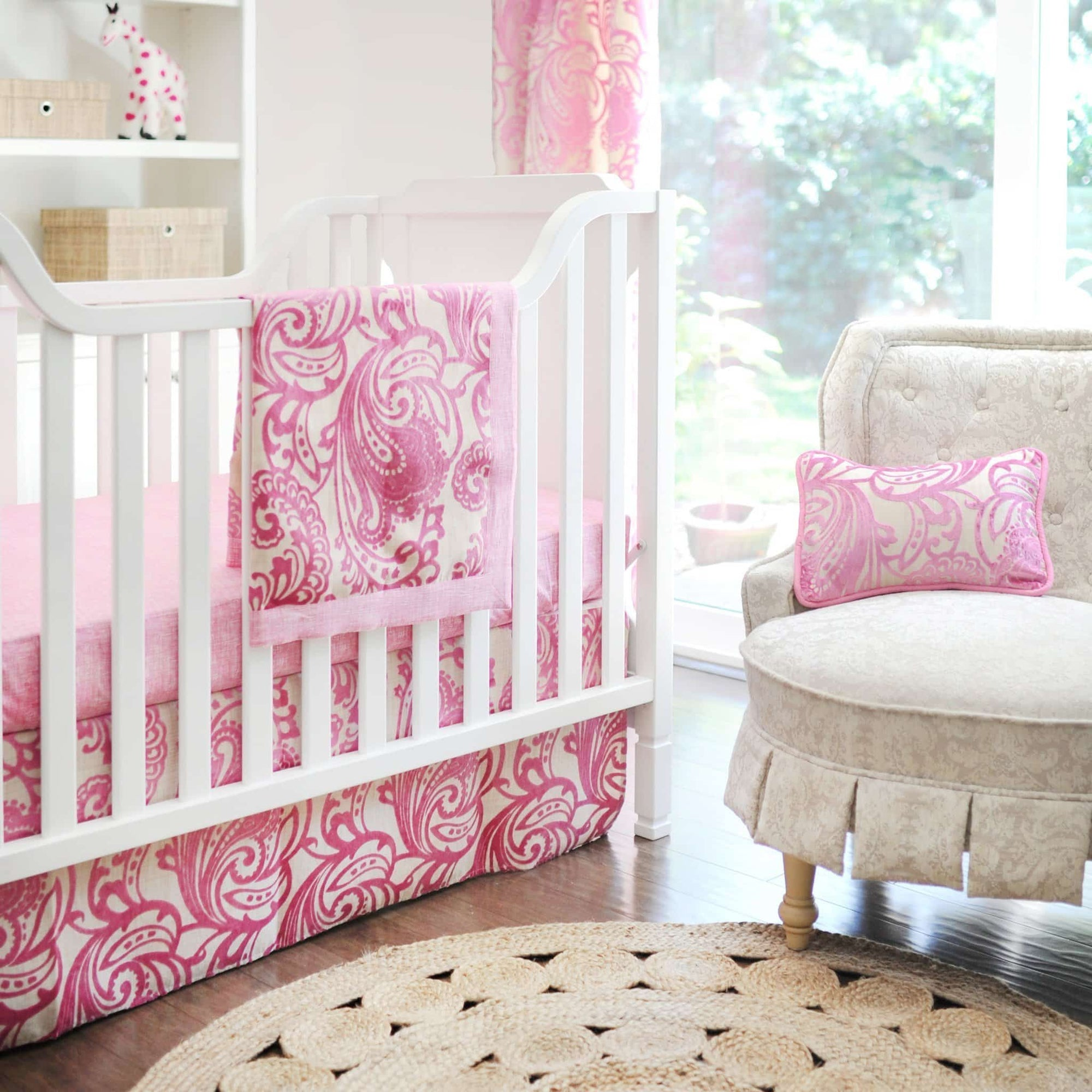 French Quarter White and Pink Baby Bedding Set-Crib Bedding Set-Jack and Jill Boutique