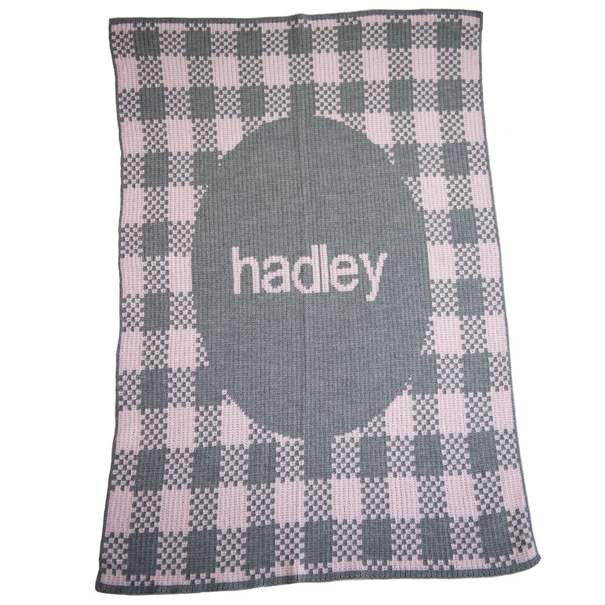 Gingham & Name Personalized Baby Blanket-Blankets-Jack and Jill Boutique