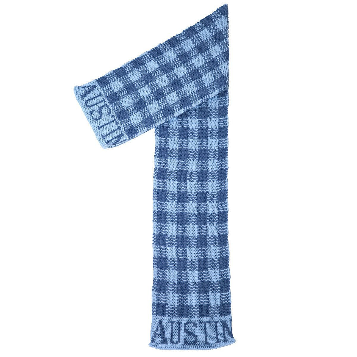 Gingham Personalized Knit Scarf-Scarves-Default-Jack and Jill Boutique