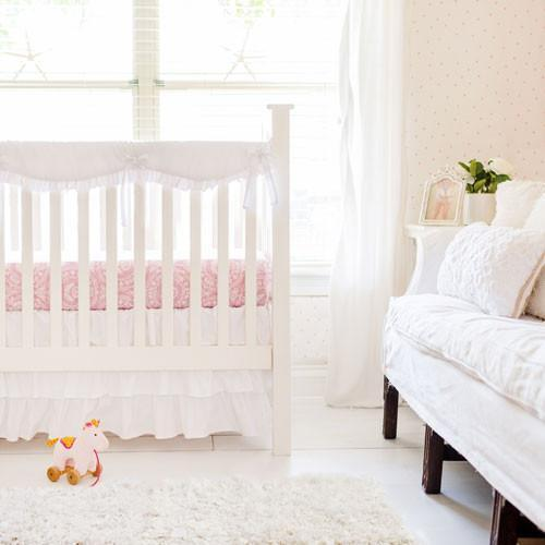 Girl White Bumperless Crib Baby Bedding Set-Crib Bedding Set-Default-Jack and Jill Boutique