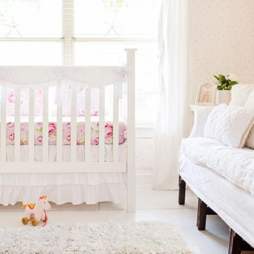 Girl White Bumperless Crib Baby Bedding Set-Crib Bedding Set-New Arrivals-Jack and Jill Boutique