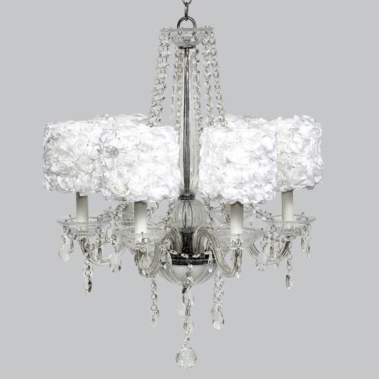 Glass 6 Light Middleton Chandelier with White Rose Garden Drum Shades