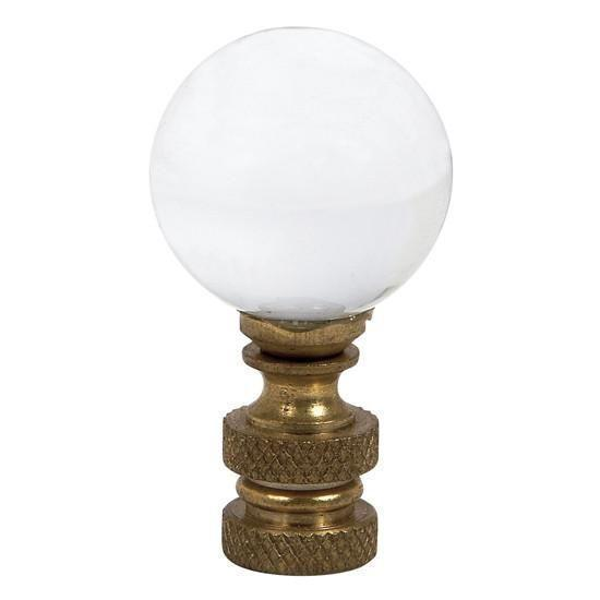 Glass Finial - Round Ball Shape - Clear-Finial-Default-Jack and Jill Boutique