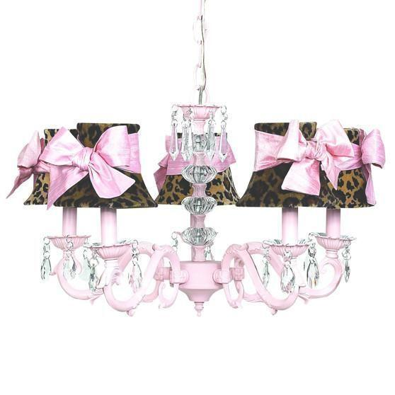 Glass Turret Pink Five-Light Mini Chandelier with Leopard and Sash Chandelier Shades-Chandeliers-Default-Jack and Jill Boutique