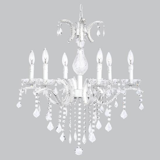 Glitz Chandelier - 6 Light - Beaded with Glass Center - White