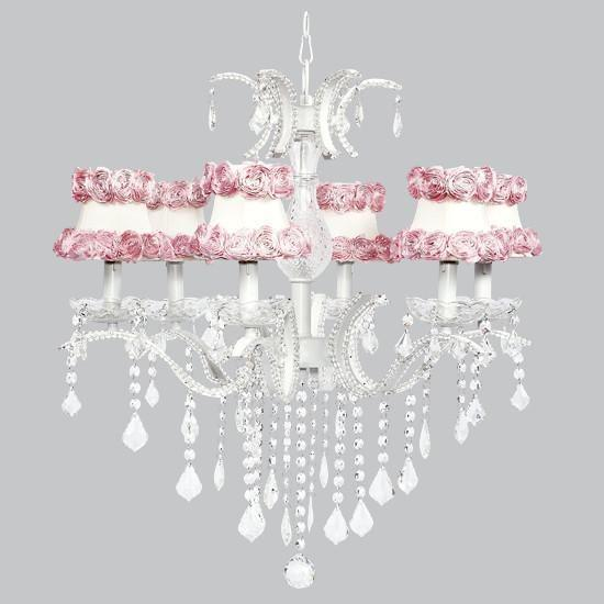 Glitz Six-Light Chandelier with Ring Of Roses Shades