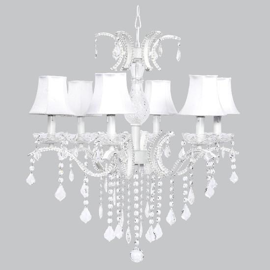 Glitz Six-Light Chandelier with White Shades