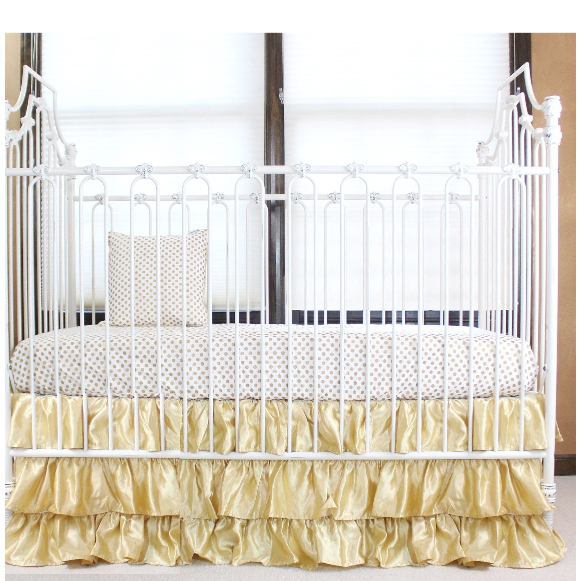 Gold and White Ruffle Gold Dot | Crib Baby Bedding Set-Crib Bedding Set-Jack and Jill Boutique