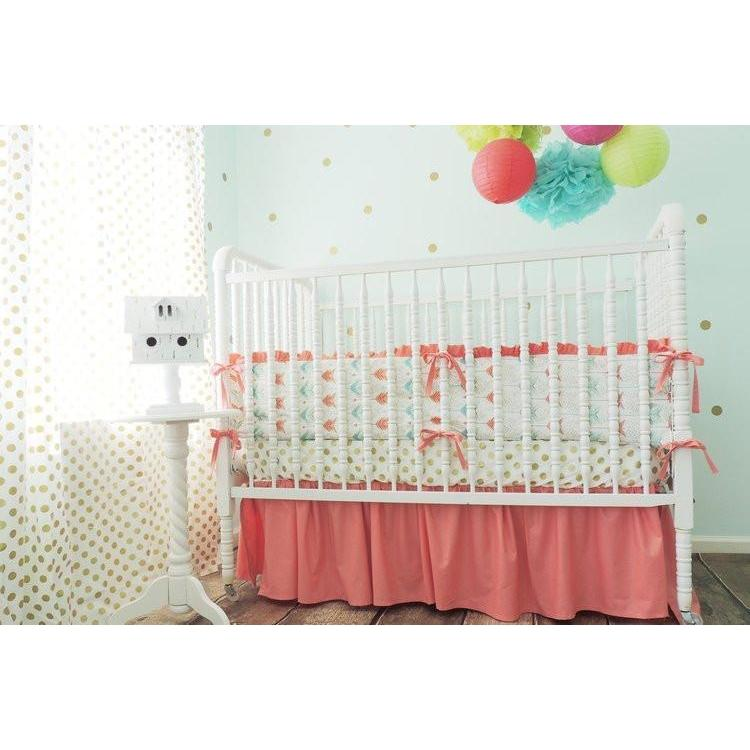 Gold Arrow Baby Bedding | Aqua, Coral Crib Bedding Set-Crib Bedding Set-Default-Jack and Jill Boutique