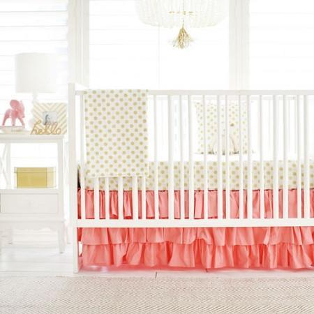 Gold & Pink Gold Polka Dot in Coral Baby Bedding Set-Crib Bedding Set-Default-Jack and Jill Boutique