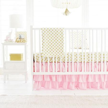 Gold Polka Dot in Pink Baby Bedding Set-Crib Bedding Set-Jack and Jill Boutique
