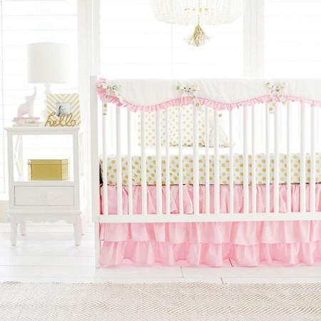 Gold Polka Dot In Pink Baby Bedding Set Jack And Jill