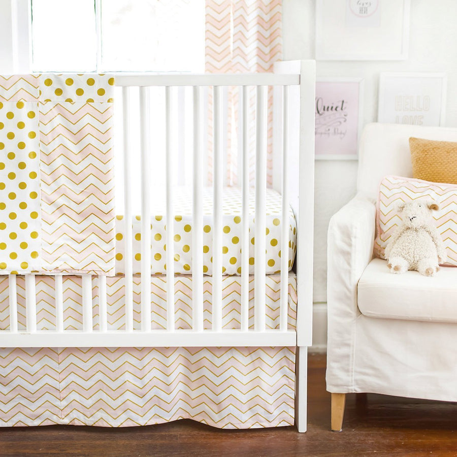 Gold Rush in Pink Baby Bedding Set-Crib Bedding Set-Default-Jack and Jill Boutique