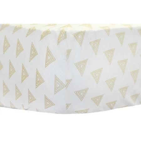 Gold Triangle Crib Sheet | Gray & Gold Tribal Head West Crib Bedding Set-Crib Sheets-Default-Jack and Jill Boutique